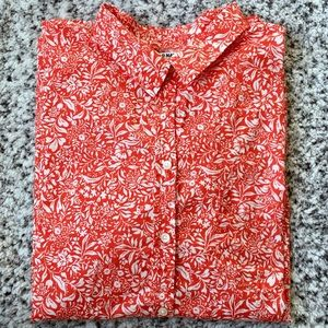 Old Navy Red Floral Button Down Shirt